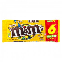M&M's Peanut Chocolate Candies Fun Size - 6 PK